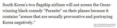 韩国两家航空公司将禁播《寄生虫》 因某一场景少儿不宜