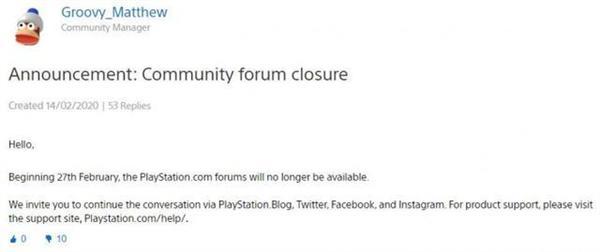 索尼将在2月27日正式关闭官方PS论坛 又是一个时代的终结