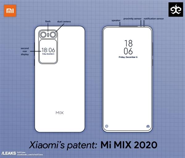 疑似小米MIX 2020专利设计图曝光:背部附带小屏双摄组合