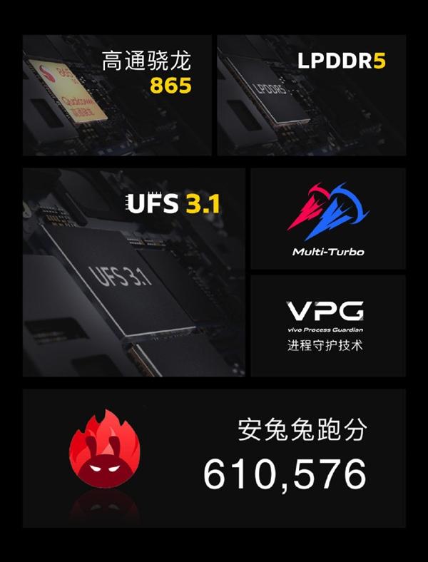 iQOO骁龙865手机官宣:安兔兔跑分超过61万分创新记录