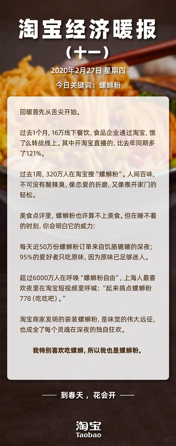 """淘宝经济暖报:1周上淘宝搜""""螺蛳粉""""人数达320万 每天深夜下单50万份"""