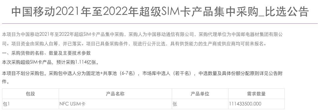 中国移动预计采购超级 SIM 卡 1.114 亿张